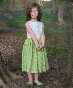 This White & Green Floral Avrey Dress - Infant, Toddler & Girls by KALMcollection is perfect! #zulilyfinds