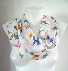 Chiffon Infinity scarf  Loop scarf Eternity scarf by TrendyTextile,