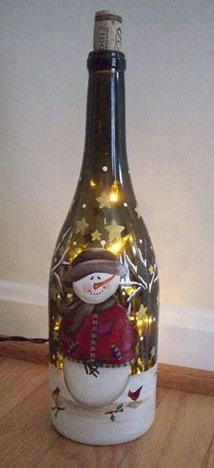 handpainted wine bottle