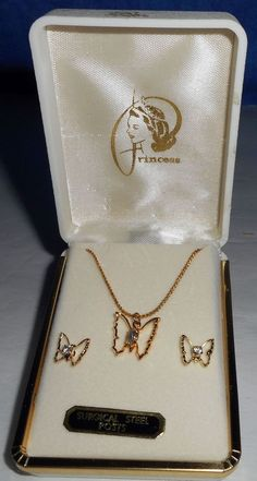 Jewelry Princess Gold Tone Butterfly Necklace & Earrings Surgical Steel…