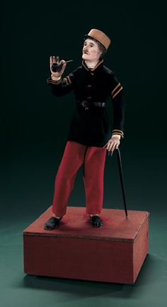"""French Musical Automaton,""""Soldier with Pipe and Cane"""""""