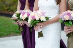 Purple white and pink bouquets