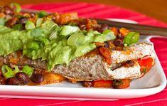 sweet potato black bean enchiladas with cilantro avacado cream sauce... yummmy and vegan!