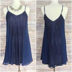 """Beautiful navy detailed dress S M L Beautiful navy blue dress  Small bust 34-36 Medium bust 36-38 Large bust 38-40  Adjustable shoulder straps  Length based on straps at longest 35""""  Exceptional quality   NWT  Polyester Boutique label Dresses"""