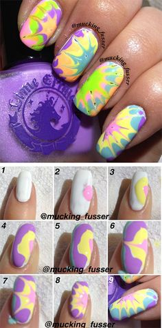 Nail Art Tutorials  This looks like an easier and less messy way to get the tie-dye/water marbling look.
