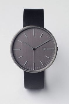Uniform Wares 203 SERIES PVD Gun Grey / Black Leather