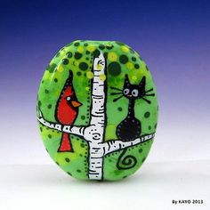 """Out on A Limb"" Bykayo A Handmade Cat Bird Lampwork Art Glass Focal Bead SRA 