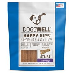 Dogswell Happy Hips Duck Strips Dog Treats - Soft strips of drool-worthy cage-free duck made with a limited number of healthy ingredients. - http://www.petco.com/shop/en/petcostore/dogswell-happy-hips-duck-strips-dog-treats