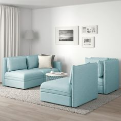 VALLENTUNA Modular corner sofa, with storage/Hillared light blue. One sofa, lots of possibilities. In need of extra beds, smart storage or a comfy reading corner? Modular Corner Sofa, Modular Sectional Sofa, Flexible Furniture, Cheap Furniture, Sofa Design, Ikea Vallentuna, Corner Sofa Living Room, Light Blue Sofa, Pallet Ideas Easy