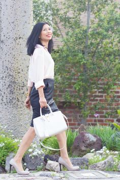 pink silk button down, leather pencil skirt, structured tote