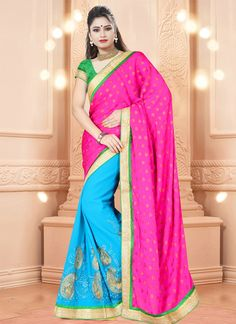 Designed with simplicity with a touch of soberness in its work makes a masterpiece. Keep ahead in fashion with this hot pink georgette and jacquard designer saree. Beautified with embroidered and patc...
