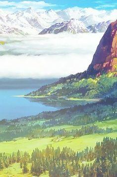 Studio Ghibli Background, Animation Background, Fantasy Landscape, Landscape Art, Totoro, Art Aquarelle, Studio Ghibli Art, Anime Scenery Wallpaper, Ghibli Movies