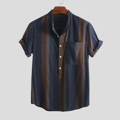 TWO-SIDED Mens Cotton Stripe Color Block Short Sleeve Designer Henley Shirt is best and cheap on Newchic. Men Store, Henley Shirts, Men's Shirts, Summer Shirts, African Fashion, African Style, African Tops, Shirt Style, Like4like
