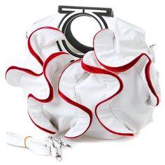 Stylish White, Vibrant Red Large Ruffle Double Handle Satchel Hobo Handbag w/Shoulder Strap $29.99
