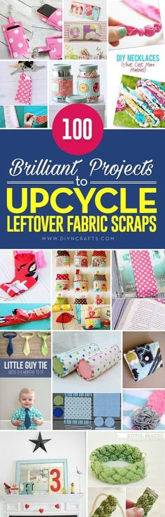 100 Brilliant Projects to Upcycle Leftover Fabric Scraps - If you love sewing, then chances are you have a few fabric scraps left over you cna use to make crafts! fabric crafts, 100 Brilliant Projects to Upcycle Leftover Fabric Scraps Scrap Fabric Projects, Easy Sewing Projects, Sewing Projects For Beginners, Sewing Hacks, Sewing Crafts, Sewing Tutorials, Sewing Tips, Sewing Ideas, Upcycling Projects