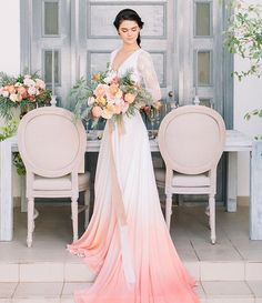 "c5b7b83e13a Hey Wedding Lady Blog on Instagram  ""This gorgeous wedding dress was dip  dyed to give it the perfect shade! See more of this sweetly colorful shoot  on the ..."