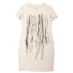 For Sale on - Chanel dress in cream tweed embroidered with tiny pearly pearls, short sleeves embroidered on the bust of long threads of cream, black and white wool. Chanel Little Black Dress, Black Silk Dress, Tweed Dress, Knit Dress, Soho, Day Dresses, Nice Dresses, Chanel Dress, 30s Fashion