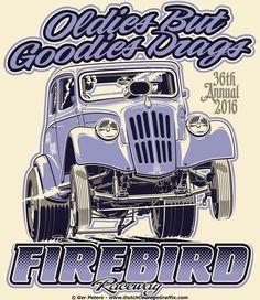 "Firebird Raceway ""Oldies But Goodies Drags 2016"" '34/34 Willys gasser T-shirt #nostalgia #drag #drags #racing #event #Willys #gasser #Tshirt #artwork"