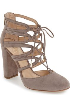 Head over heels for these lace-up pumps from Vince Camuto! The taupe suede will pair nicely with almost every outfit.