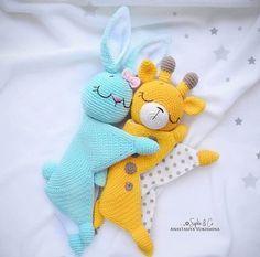 Easy Crochet Patterns, Amigurumi, Baby lovey toys by AVokhminaPatterns Crochet Animal Patterns, Crochet Patterns Amigurumi, Amigurumi Doll, Crochet Animals, Crochet Dolls, Baby Patterns, Crochet Lovey, Cute Crochet, Crochet Mignon