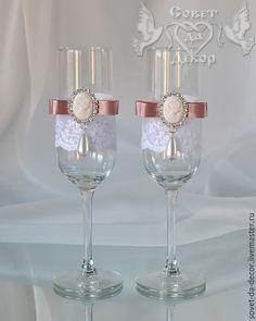 Купить Бокалы свадебные с камеями - свадебные бокалы, купить свадебные бокалы, бокалы свадебные купить