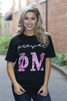 Phi Mu American Apparel Short and Long Sleeve T-shirt - Forever Phi Mu - Phi Mu Letter Shirt