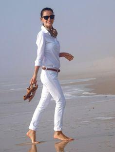 White Capris, Brown Belt, Brown Sandals, White Button Down, Patterned Scarf, Black Wayfarer Sunglasses