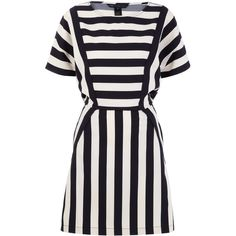 Marc by Marc Jacobs Navy and Cream Striped Scooter Dress (¥70,035) ❤ liked on Polyvore featuring dresses, vestidos, mixed print dress, navy dress, marc by marc jacobs, striped dress and navy blue dress