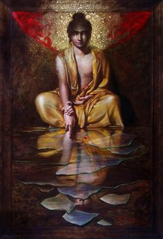Vijender Sharma: Artist in India, Painter in India, Realistic Artist in India, Contemporary Artists in India Buddha Painting, Krishna Painting, Buddha Art, Composition Painting, Indian Art Paintings, Ravivarma Paintings, Abstract Paintings, Indian Artist, Mystique
