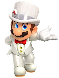 View an image titled 'Wedding Mario Art' in our Super Mario Odyssey art gallery featuring official character designs, concept art, and promo pictures. Super Mario Bros, Mundo Super Mario, Super Mario Kunst, Super Mario Nintendo, Super Mario Party, Super Mario Brothers, Super Smash Bros, Mario Und Luigi, Mario Bros.