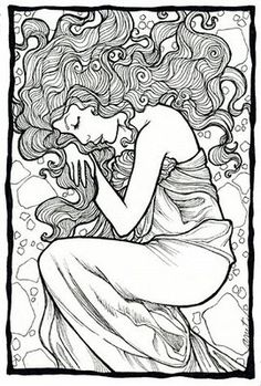 intricate coloring pages for adults | Adrienne Trafford Art Blog: Illustration Friday  Good hair, reminds me of flaming june