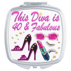 DAZZLING 40TH DIVA VANITY MIRROR http://www.zazzle.com/jlpbirthday/gifts?cg=196901469086304704&rf=238246180177746410  #40thbirthday #40yearsold #Happy40thbirthday #40thbirthdaygift #40thbirthdayidea #happy40th