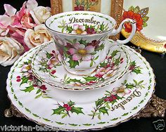 Royal Albert Tea Cup And Saucer Trio December Christmas Rose Teacup Pattern