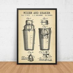 Cocktail Shaker Patent Digital Download by DigitalBlueprints