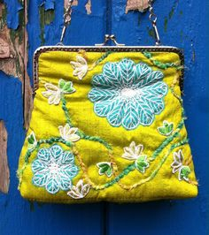 Green purse, silk shabby boho chic bag with embroidered flowers and silken rope detail, small silver frame purse with silver chain, silk bag