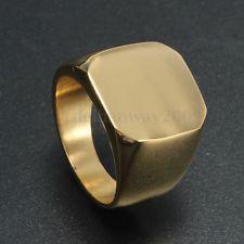 Vintage Polished Gold Tone Signet Ring Solid Titanium Steel Biker Jewellery Men