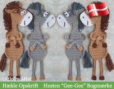 DANSK opskrift - https://www.etsy.com/dk-en/listing/245277235/025dk-hesten-gee-gee-bogmarke-amigurumi
