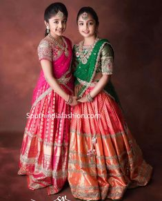 ariana and viviana in pattu half sarees Lehenga Designs, Lehenga Saree Design, Half Saree Designs, Saree Blouse Designs, Kids Dress Wear, Kids Gown, Dresses Kids Girl, Girls, Frock Design