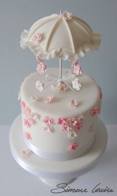 Handmade Parasol with falling Blossoms Cake by Simone Louise Cakes