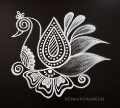 Easy Peacock Rangoli Design For Diwali 2019 Rangoli Designs Peacock, Rangoli Side Designs, Easy Rangoli Designs Diwali, Rangoli Simple, Rangoli Designs Latest, Simple Rangoli Designs Images, Free Hand Rangoli Design, Small Rangoli Design, Rangoli Patterns