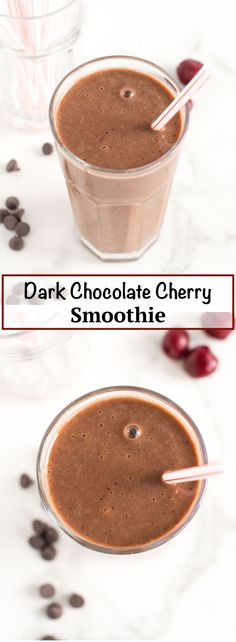 Simple Dark Chocolate Cherry Smoothie   nourishedtheblog.com   A simple dark chocolate cherry smoothie recipe made gluten free and vegan with frozen cherries, banana, cocoa powder, almond milk and cinnamon all blended to icy cold perfection. Delicious as dessert or as a sweet breakfast treat. Click through for this chocolatey recipe!