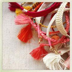 Happy Vintage Silk Bracelet Red Stripe NEW!