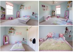 Cute Little Girl Room - I like the mirror in the corner! Baby Bedroom, Home Bedroom, Girls Bedroom, Bedroom Ideas, Little Girl Rooms, Cute Little Girls, Organic Bloom Frames, Shabby Chic Bedrooms, Girl Decor