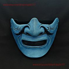 Half cover Knight Samurai Mask, Airsoft mask, Halloween Costume Cosplay mask, Evil Oni Hannya Kabuki mask, Steampunk wall mask MA218