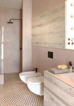 Putty pink bathroom. Beautiful use of colour/color. Textural interest; wood, ceramics, tiling, plaster. Love it!!!