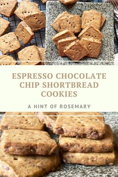 These Espresso Chocolate Chip Shortbread Cookies are rich with butter but the sweetness is mild, like biting into a delicious shot of espresso. With generous bits of dark chocolate laced throughout. ♡ A Hint of Rosemary #dessert #desserts #coffee #glutenfree #snack #snacks #doriegreenspan #brunch #cookie #holiday #ahintofrosemary Mini Chocolate Chips, Chocolate Coffee, Chocolate Chip Shortbread Cookies, Sweet Coffee, Gluten Free Treats, Christmas Time, Holiday, Baking Flour, Food N