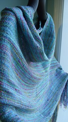 Handwoven Shawl Wrap Silky Rayon Shawl by barefootweaver on Etsy Loom Weaving, Hand Weaving, Peg Loom, Weaving Textiles, Weaving Projects, Subtle Textures, Textile Artists, Shawls And Wraps, Fabric Art