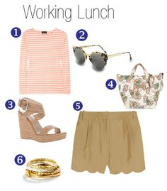 Outfit Idea via Fifi Cheek {1. A.P.C. Cotton Shirt 2. Super Sunnies 3. Stuart Weitzman Wedges 4. See by Chloe Tote   5. J.Crew Scalloped Shorts 6. Shortstack Rings}