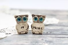 Owls Wedding cake topper  Je t'aime Cute cake topper by orlydesign, $37.00