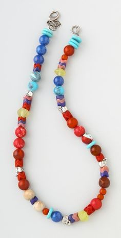 beaded necklace with skull charms